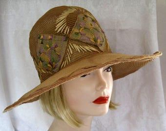 "1920s Cloche Hat / Wide Brim Cloche Hat / Horsehair / 21"""