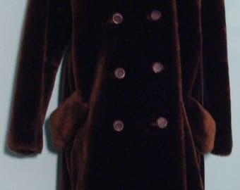 Vintaqe 1960's Brown Faux Fur Coat by Masquerade Allez