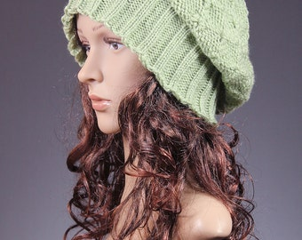 Slouchy Beanie, Women's Knit Hat, Winter Hat, Winter Beanie, Slouchy Hat, Green Hat, Chunky Knit Hat, Baggy Tam Hat - Modern Classic
