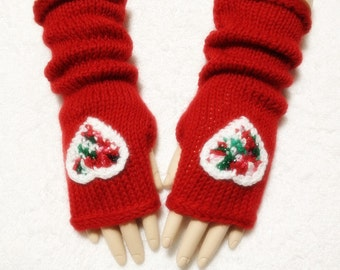 Wool Fingerless Gloves With Hearts