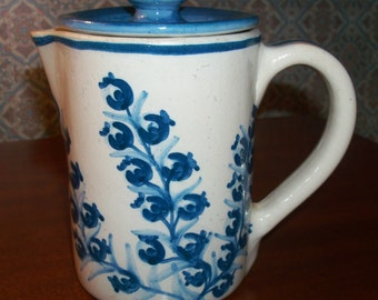 Vintage Original Handmade Hand-painted Dorchester Pottery Fruit Pattern Covered Pitcher - Blueberry Design - Signed CAH - 1950s