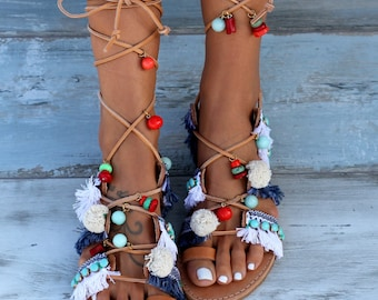 "Tie Up Gladiator Sandals, Greek Sandals, Pom Pom Sandals, Boho Sandals, ""Danae"""