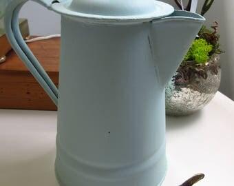 Vintage Enamelware Coffee Pot Tea Pot Graniteware Spatterware Farmhouse Decor Flower Vase