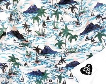 Organic Swaddle Blanket Maui Vibe, Nautical Bedding, Sailing, Ocean, Palm Tree, Waves, Gender Neutral, Organic Bedding, Charcoal, Cream
