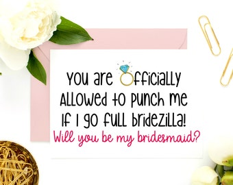 Funny Bridesmaid Card, Funny Asking Cards, Bridesmaid Proposal, Be My Bridesmaid, Be My Maid of Honor, Funny Maid of Honor