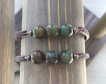 Suede bloodstone bracelets / bloodstone bracelet / crystal bracelet / stacking bracelet / bohemian bracelet / layering bracelet