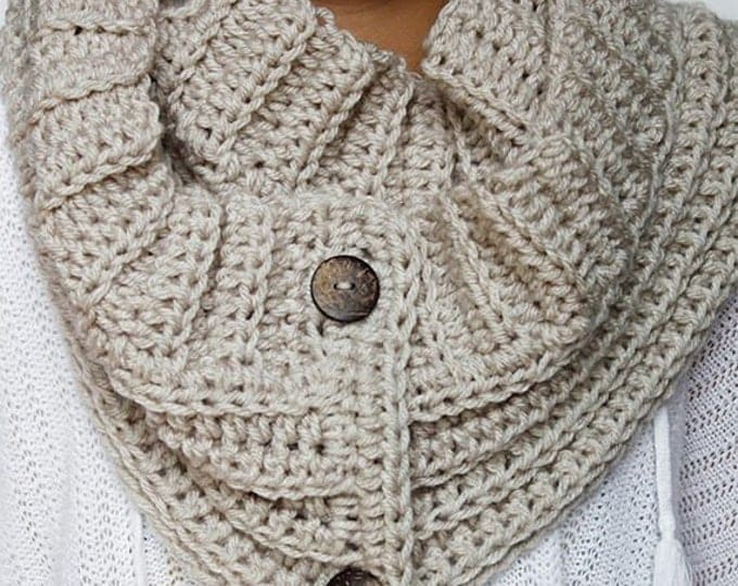 PDF Crochet Pattern - Andy Button Scarf