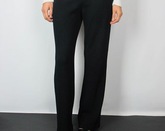 Black ribbed sweater pants / S / straight leg mid rise thick stretch knit elastic waistband minimalist St. John classic designer vintage