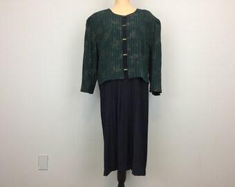 Plus Size 24 Dress Long Sleeve Midi Pleated Skirt Full Skirt Green Navy Blue Office Dress Vertical Stripe Work Dress Size 3X Womens Clothing