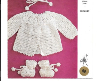 Pretty crochet pattern for jacket, bonnet and bootees in 4 ply to fit 20 inch chest - PDF