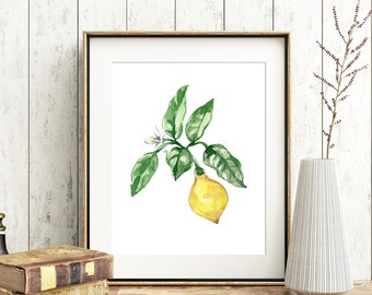Lemon No. 102 Lemon Watercolor Art Vintage Inspired Lemon Art Lemon Watercolor Print Fruit Print Kitchen Lemon Art Lemon Decor Yellow Art