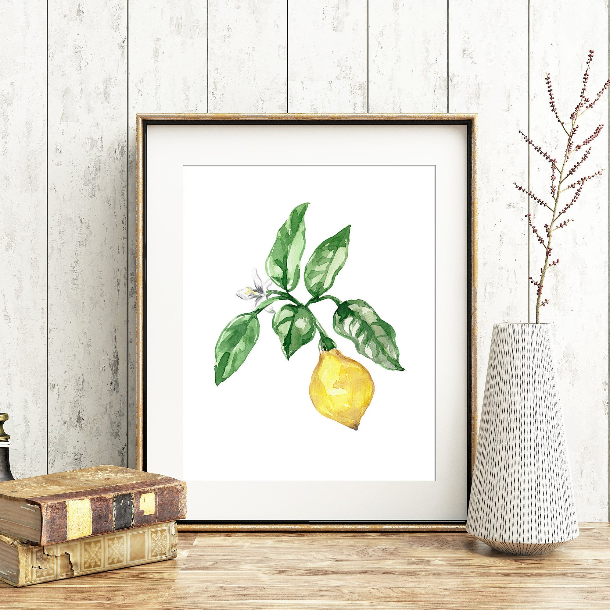 Lemon No 102 Lemon Watercolor Art Vintage Inspired Lemon Art