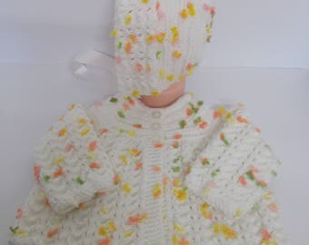 Hand Knitted Baby Cardigan Matinee Coat Baby Sweater and Bonnet White with 3d Flower Effect Traditional Yolk Style 0-3 months - Baby Girl