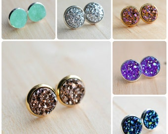 60 colors on SALE!!! Druzy Stud Earrings in silver or gold. Druzy Earrings - Druzy Post Earrings - Druzy Stud Earrings - Galactic earrings