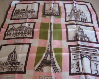 French Parisian Scarf, famous places of Paris; Eiffel Tower, Moulin Rouge, Notre Dame. Green pink & brown. Original gift for France lover