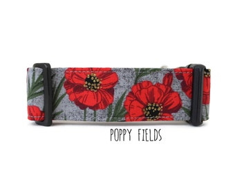 Girl Dog Collar, Poppy Dog Collar, Floral Dog Collar, Flower Dog Collar, Pretty Dog Collar, Red (Upgrade to Metal Buckle or Martingale)