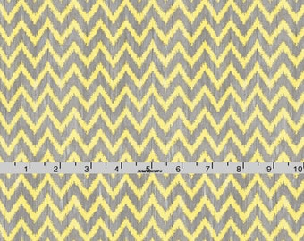 Yellow and Gray Chevron Fabric, Wilmington Print, To the Moon and Back, 82461 955 Jennifer Pugh, Gray & Yellow Chevron Quilt Fabric,  Cotton