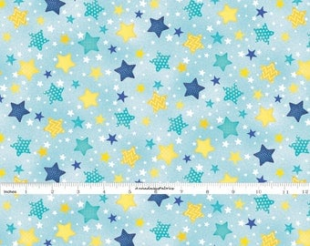 Yellow & Blue Stars Fabric, Wilmington Print, To the Moon and Back, 82459 454, Stars Quilt Fabric, Blue Baby Fabric, Jennifer Pugh, Cotton