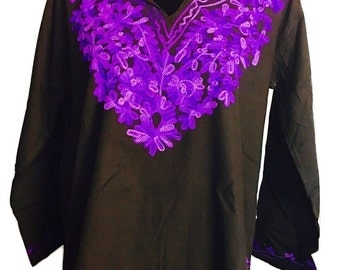 Women 100% cotton summer indian pakistani black floral hand embroidered Kurti kurta tunic dress top sz M long sleeve