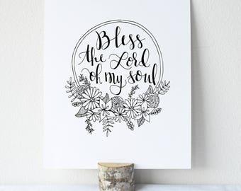 Psalm 103:1 Printable Bible Verse Art Print 8x10 Digital Wall Art Gift