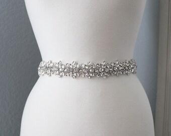 Bridal Sash, Wedding Dress Belt, Rhinestone Bridal Sash, Crystal Sash Belt, Wedding Dress Belt, Bridal Sash Belt 5529