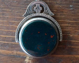 1893 Antique Victorian Hand Chased Spinning Carnelian & Bloodstone Watch Fob in Sterling Silver