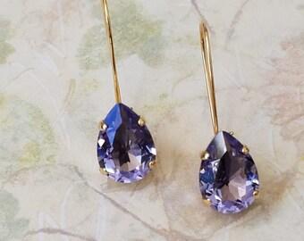 Tanzanite Crystal Earrings, Drop Earrings, Bridesmaids Jewelry Gift, Crystal Rhinestone Earrings, Swarovski Crystal Earrings, Prom Earrings