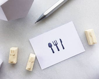 Fork, spoon, and knife rubber stamp, hand carved rubber stamp, cutlery, utensils
