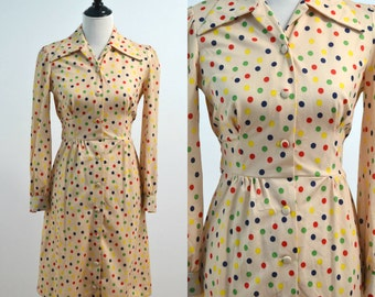 70s Shirt Dress / Vintage 1970s Multicolor Dot Dress with Sash Tie / Small S Medium M / Collared Dress / Polka Dot Dress / Polyester Dress