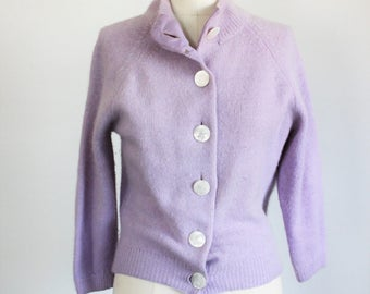 Vintage 1960s Purple Cardigan Sweater / 60s Darlene Angora Lambswool Nylon Lavender Sweater With Oversized Shell Buttons / Angelon