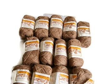 Vintage New Old Stock Camel Germantown Yarn Spun From 100% Pure Virgin Wools - Super Yarn Mart! - 4 Ply Knitting Worsted - Lot of 13 2oz