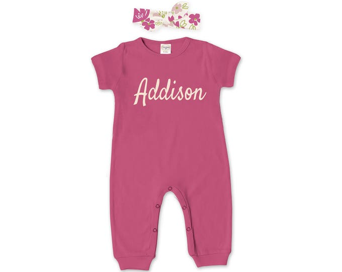 Personalized Newborn Girl Coming Home Outfit, Baby Girl Take Home Romper & Headband, Name Romper, Fuchsia Pink Floral Tesababe RH860FU000310