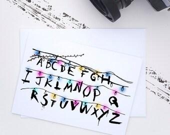 Stranger Things Fairy Lights Custom Greeting Card // birthday card, eleven, the upside down, netflix