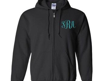 Monogrammed Zip Up Hoodie, Personalized Zip Up Hoodie, Monogrammed Zip Up Sweatshirt, Personalized Sweatshirt