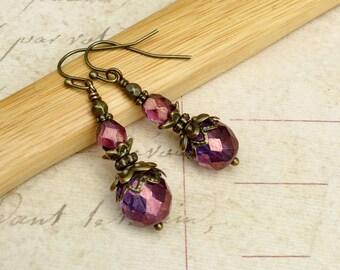 Victorian Earrings, Amethyst Earrings, Purple Earrings, Antique Gold Earrings, Czech Glass Beads, Bridal Earrings, Womens Earrings, Gifts