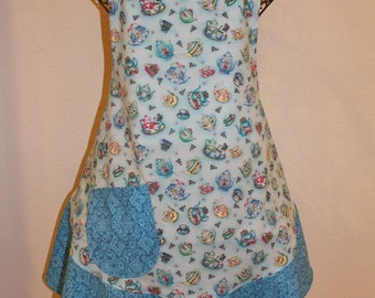 Women's Large Blue Tea Cup Apron -  Mother Daughter