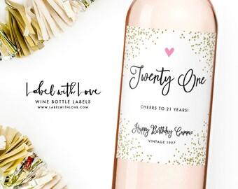 21st Birthday Wine Label - Personalized Birthday Label - Twenty One and Legal Birthday Girl Bottle Label - 21st Birthday Gift - RIP Fake ID