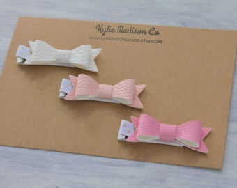 pretty in pink petite hair bow clip (set of 3), baby hair clips