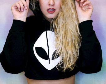 Alien Crop Top • Alien Cropped Hoodie • Women's Alien Sweatshirt • Tumblr Shirt • Music Festival Clothing • Women's Crop Top • G185black