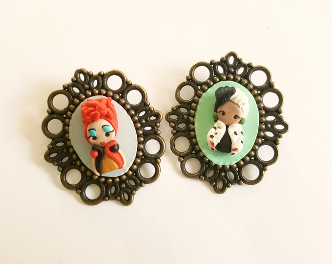 Disney villains brooch inspired,choose your favorite, Maleficent,Cruelle, Red Queen  . Disney Clay charm. Disney villain jewelry.Clay jewels