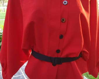 Vintage 80's 40's inspired red black batwing sleeve peplum boxy belted jacket blouse top
