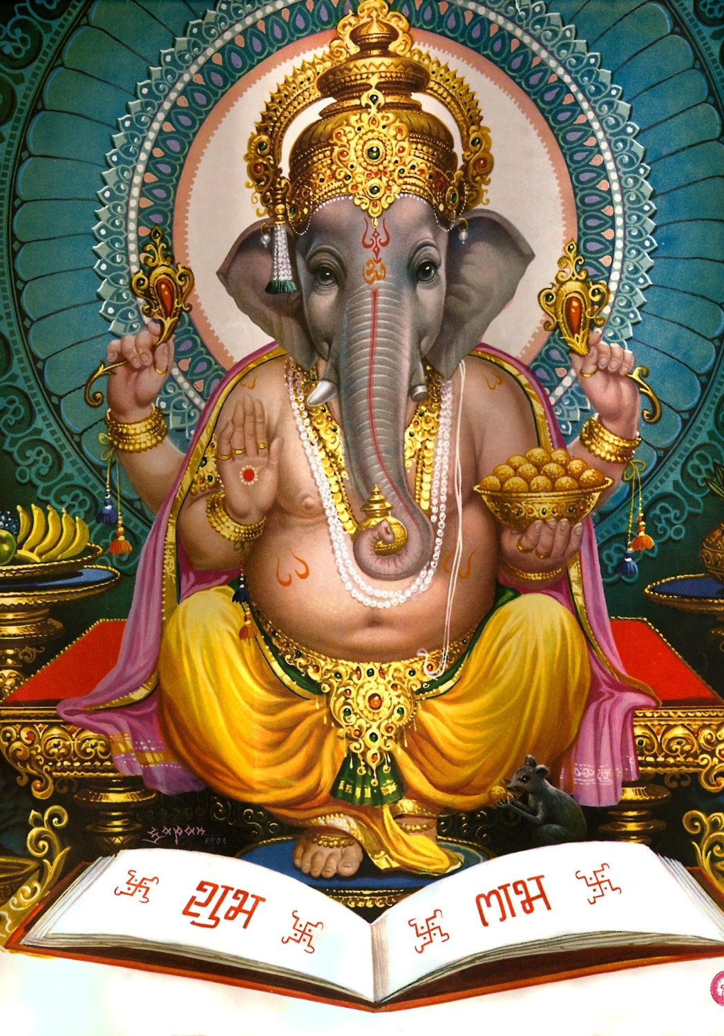 Lord ganesha multi color painting hd image - Details Ganesha Picture