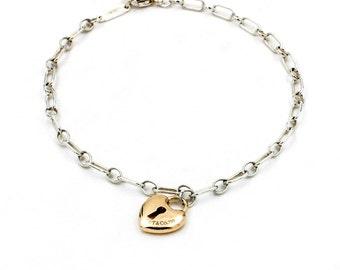Vintage Tiffany & Co. Sterling Silver Bracelet with 18k Rose Gold Heart Lock Charm