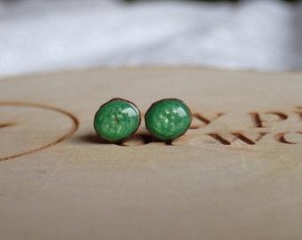 Green stud earrings, little ear studs, hand painted wooden studs