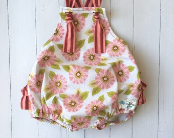 Pink and White Flower Romper , Pink Flower Romper , Pink Stripe Romper , Pink Baby Romper , Pink Toddler Romper , Pink Birthday Outfit