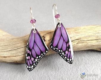 Light purple butterfly wings, hand drawn smaller fantasy Monarch butterfly wing earrings, sterling silver, Austrian crystals.  Monarch wings