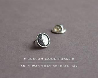 Personalized Jewelry, Custom Jewelry,Custom Gift Personalized,Anniversary Gift for Him,Pin Sterling Silver Moon Phase Date Custom Moon Phase