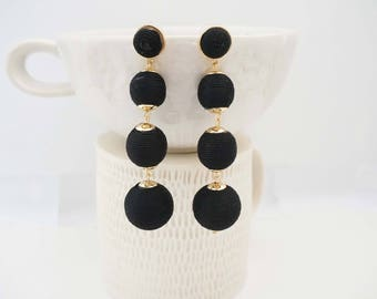 Black and Gold Bead Ball Post Stud Statement Earrings