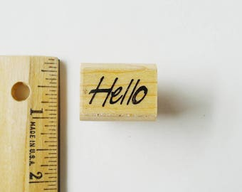 Hello Stamp, HELLO Word Stamp, Small Hello, Rubber Stamp, Friendly Greeting, Craft Shape, Hi There Word, Greeting Craft Shape, Collage Cards