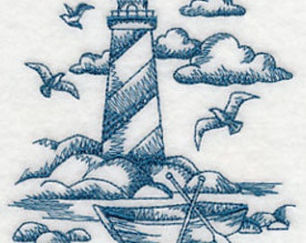 Blue Lighthouse Embroidered Kitchen Towel -  Toile Lighthouse Waffle Weave Tea Towel - Nautical kitchen